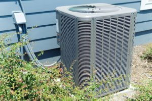 A/C unit connected to a residential house in Belleville, Illinois