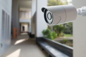 Modern white outdoor camera for residential homes in Belleville, Illinois