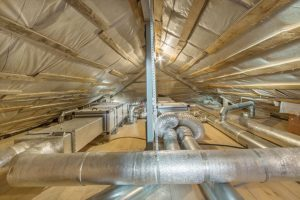Newly cleaned air duct system in home attic in Belleville, Illinois