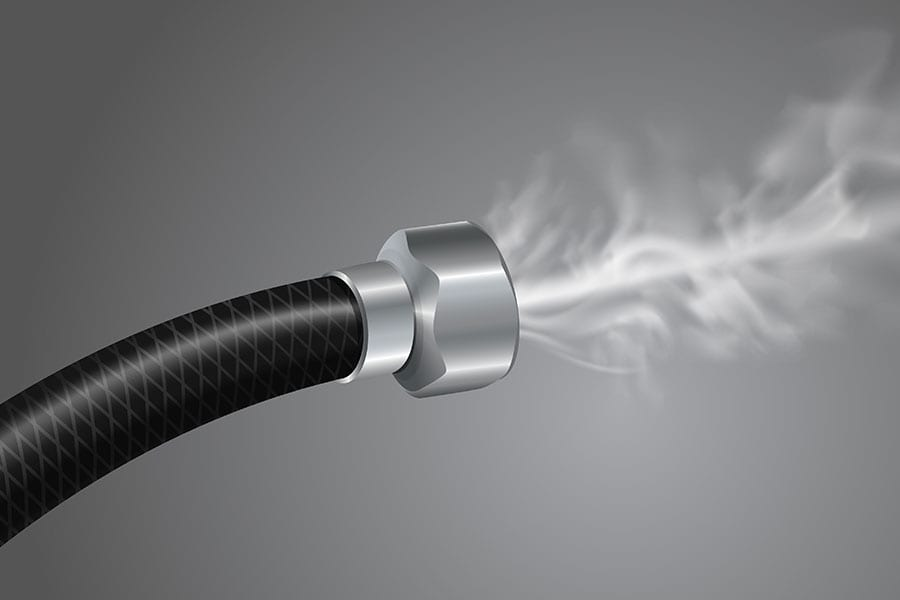 Black and grey image showing a pipe leaking gas in Belleville, Illinois